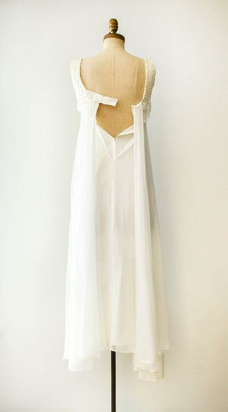 vintage 1970s chiffon ivory wedding dress flowers floral sleeveless extra small XS 1960s 60s sixties 70s seventies bohemian boho hippie gown bride bridal concettas closet fashion style 5