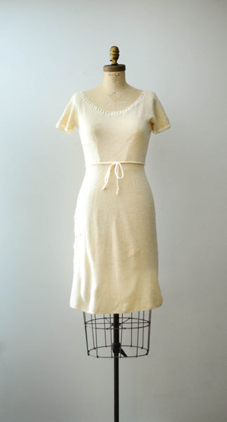vintage 1950's ivory chenille wool knit sweater dress short sleeve white 50s fifties mid century rockabilly fall fashion style concettas closet