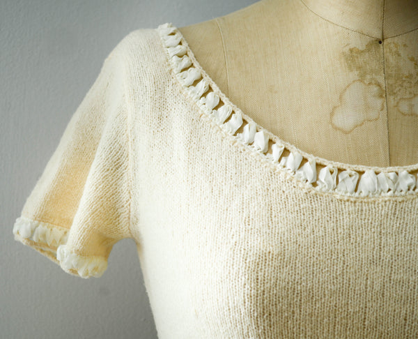 vintage 1950's ivory chenille wool knit sweater dress short sleeve white 50s fifties mid century rockabilly fall fashion style concettas closet 2