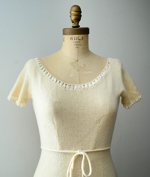vintage 1950's ivory chenille wool knit sweater dress short sleeve white 50s fifties mid century rockabilly fall fashion style concettas closet 1
