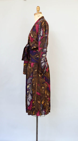 "vintage 1980's judy hornby couture dress silk brown floral long sleeve 80s eighties secretary designer classic fashion style concettas closet small 26"" 27"" waist 4"