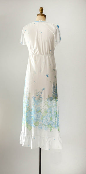 vintage 1960's aqua blue floral print nightgown summer spring white sexy pretty feminine concettas closet fashion style small medium 2