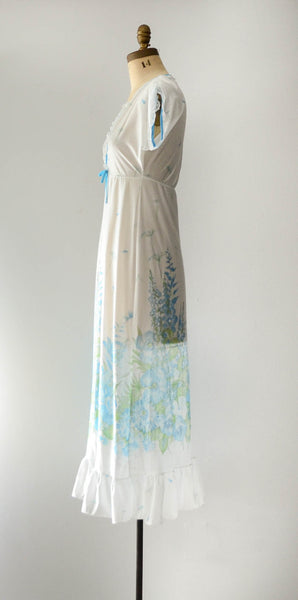 vintage 1960's aqua blue floral print nightgown summer spring white sexy pretty feminine concettas closet fashion style small medium 3