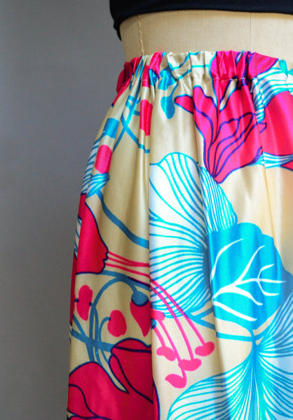 vintage 1970's tropical floral print maxi long skirt 70s seventies small medium large bright neon summer spring fashion style concettas closet 1