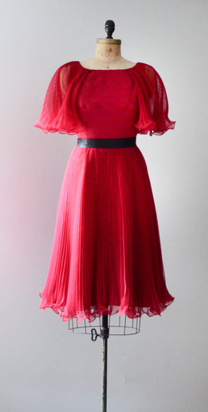 "vintage 1960's ruby red chiffon cocktail dress pleated curly sheer medium 30"" waist fit flare party fashion style concettas closet"