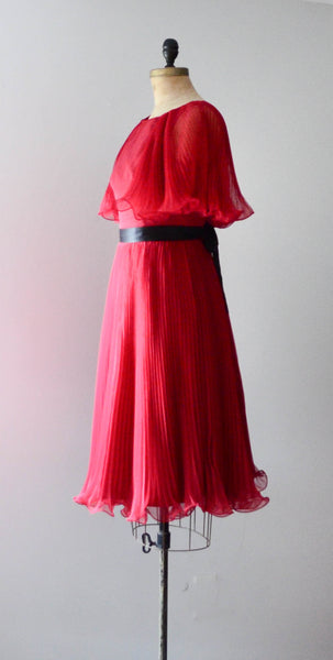 "vintage 1960's ruby red chiffon cocktail dress pleated curly sheer medium 30"" waist fit flare party fashion style concettas closet 1"