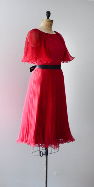 "vintage 1960's ruby red chiffon cocktail dress pleated curly sheer medium 30"" waist fit flare party fashion style concettas closet 2"