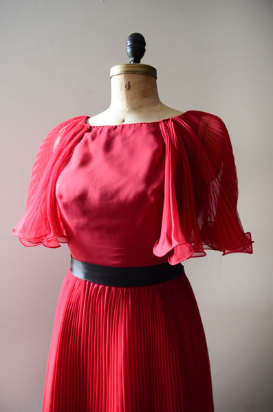 "vintage 1960's ruby red chiffon cocktail dress pleated curly sheer medium 30"" waist fit flare party fashion style concettas closet 4"