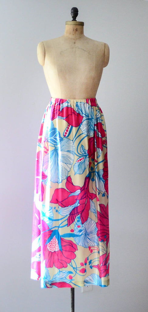 vintage 1970's tropical floral print maxi long skirt 70s seventies small medium large bright neon summer spring fashion style concettas closet