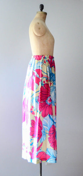 vintage 1970's tropical floral print maxi long skirt 70s seventies small medium large bright neon summer spring fashion style concettas closet 2