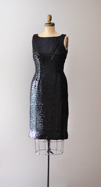 "Vintage 1960's black sequined little black dress lbd sleeveless wiggle hourglass curvy medium 29"" waist 60s sixties mad men glamour style fashion concettas closet"