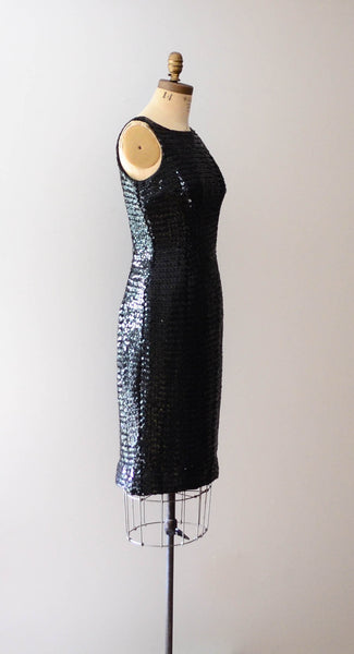 "Vintage 1960's black sequined little black dress lbd sleeveless wiggle hourglass curvy medium 29"" waist 60s sixties mad men glamour style fashion concettas closet 2"
