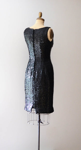 "Vintage 1960's black sequined little black dress lbd sleeveless wiggle hourglass curvy medium 29"" waist 60s sixties mad men glamour style fashion concettas closet 3"