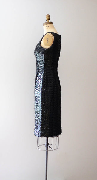 "Vintage 1960's black sequined little black dress lbd sleeveless wiggle hourglass curvy medium 29"" waist 60s sixties mad men glamour style fashion concettas closet 4"