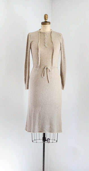 vintage 1970's knit deco style dress 30s 1930s 70s 1970's small medium beige neutral brown tan oatmeal  long sleeves sweater dress concettas closet fashion style