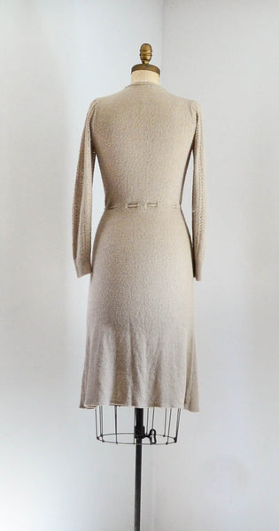 vintage 1970's knit deco style dress 30s 1930s 70s 1970's small medium beige neutral brown tan oatmeal  long sleeves sweater dress concettas closet fashion style 2