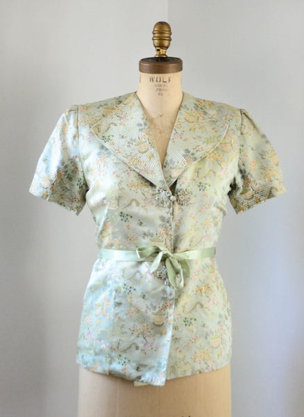vintage 1940's silk chinoiserie melon green beach pajamas set asian japanese chinese flapper pants jacket small medium jazz age roaring 20s 30s thirties 1930s 40s forties art deco concettas closet fashion style 1