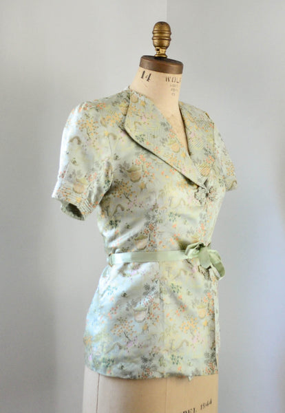 vintage 1940's silk chinoiserie melon green beach pajamas set asian japanese chinese flapper pants jacket small medium jazz age roaring 20s 30s thirties 1930s 40s forties art deco concettas closet fashion style 2