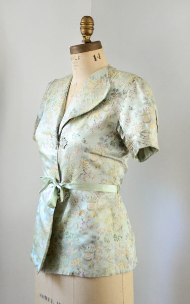 vintage 1940's silk chinoiserie melon green beach pajamas set asian japanese chinese flapper pants jacket small medium jazz age roaring 20s 30s thirties 1930s 40s forties art deco concettas closet fashion style 3
