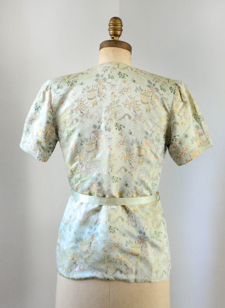 vintage 1940's silk chinoiserie melon green beach pajamas set asian japanese chinese flapper pants jacket small medium jazz age roaring 20s 30s thirties 1930s 40s forties art deco concettas closet fashion style 4