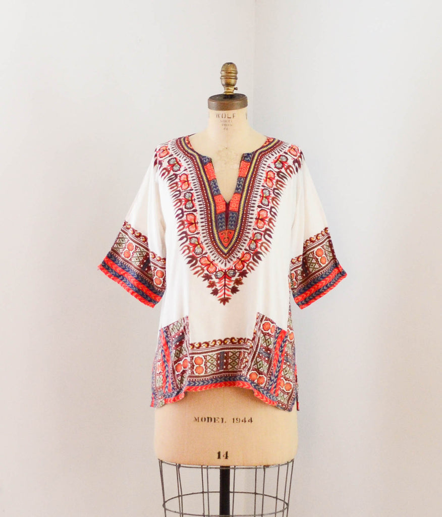 vintage 1970s dashiki tunic top shirt blouse summer ethnic african 70s seventies bohemian hippie boho festival concettas closet fashion style summer extra small XS