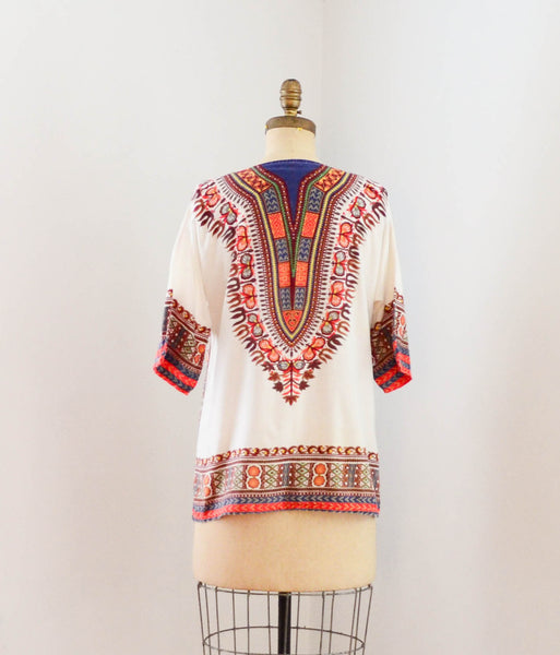 vintage 1970s dashiki tunic top shirt blouse summer ethnic african 70s seventies bohemian hippie boho festival concettas closet fashion style summer extra small XS 2