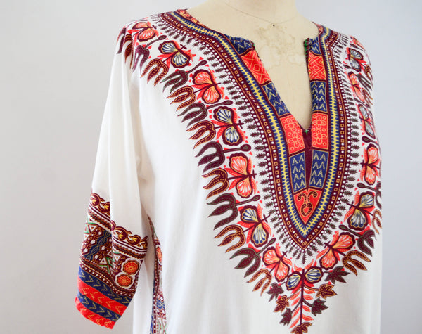 vintage 1970s dashiki tunic top shirt blouse summer ethnic african 70s seventies bohemian hippie boho festival concettas closet fashion style summer extra small XS 4
