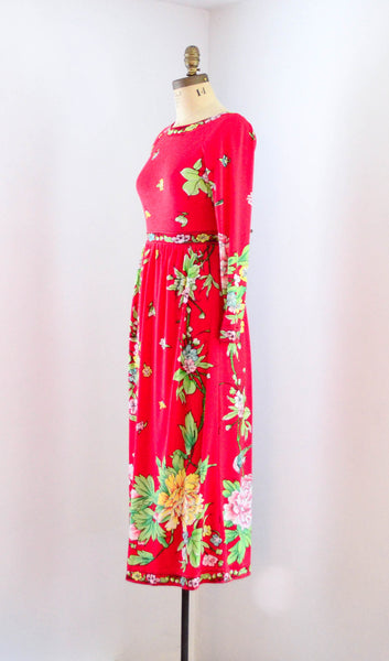 vintage 1970s red floral long sleeve medium dress maurice pucci gucci style fashion 70s seventies concettas closet 2
