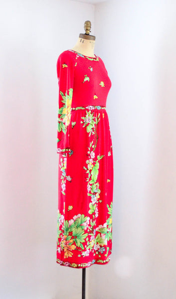 vintage 1970s red floral long sleeve medium dress maurice pucci gucci style fashion 70s seventies concettas closet 3