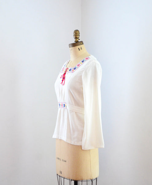 vintage 1960's bohemian hippie blouse shirt peasant top long sleeve 70s 1970s seventies 60s woodstock music festival boho chic fashion style concettas closet small 2