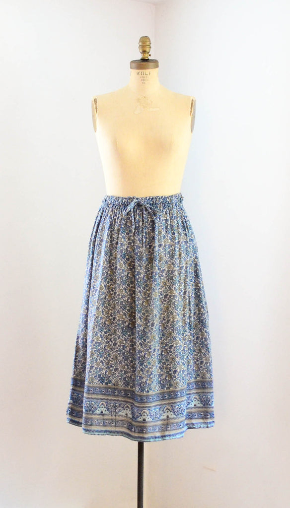Vintage 1970's indian cotton skirt blue white floral bohemian boho hippie extra small xs medium large summer spring fashion style concettas closet