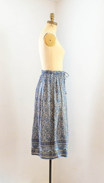 Vintage 1970's indian cotton skirt blue white floral bohemian boho hippie extra small xs medium large summer spring fashion style concettas closet 1