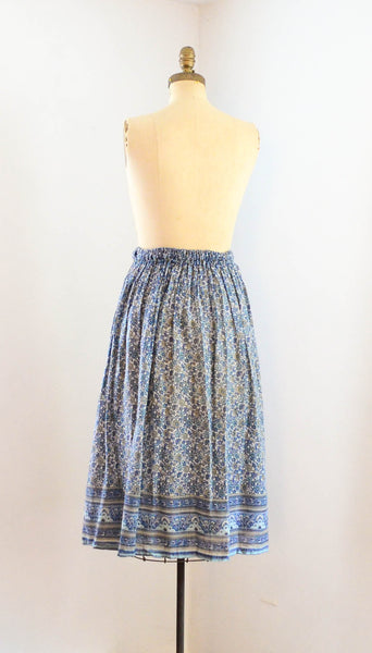 Vintage 1970's indian cotton skirt blue white floral bohemian boho hippie extra small xs medium large summer spring fashion style concettas closet 2