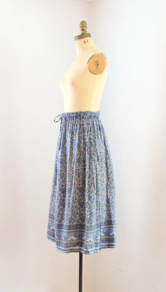 Vintage 1970's indian cotton skirt blue white floral bohemian boho hippie extra small xs medium large summer spring fashion style concettas closet 3