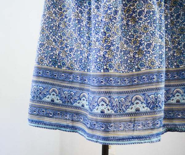 Vintage 1970's indian cotton skirt blue white floral bohemian boho hippie extra small xs medium large summer spring fashion style concettas closet 4