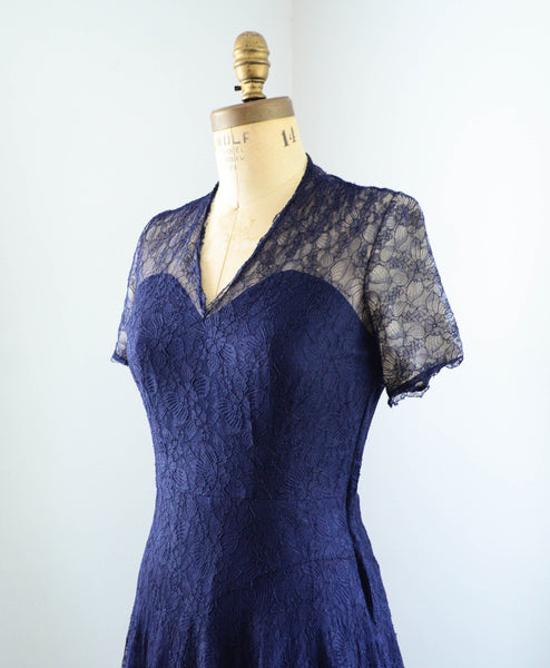 "vintage 1940's navy blue silk lace dress cap short sleeve fit flare party cocktail small 27"" waist 40s forties 1950s fifties 50s rockabilly classic style fashion timeless concettas closet 4"