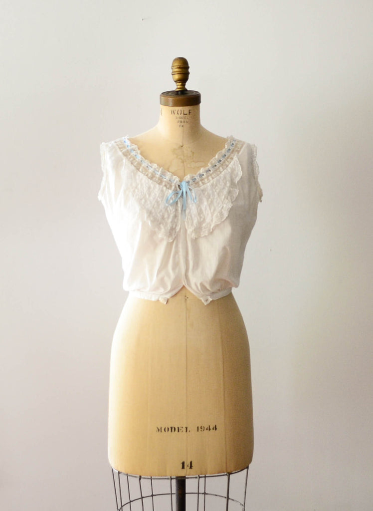 antique 1910s edwardian era camisole ivory white cotton lace lingerie bohemian boho fashion style concettas closet vintage