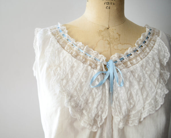 antique 1910s edwardian era camisole ivory white cotton lace lingerie bohemian boho fashion style concettas closet vintage 2