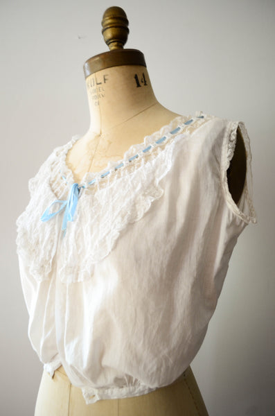 antique 1910s edwardian era camisole ivory white cotton lace lingerie bohemian boho fashion style concettas closet vintage 3