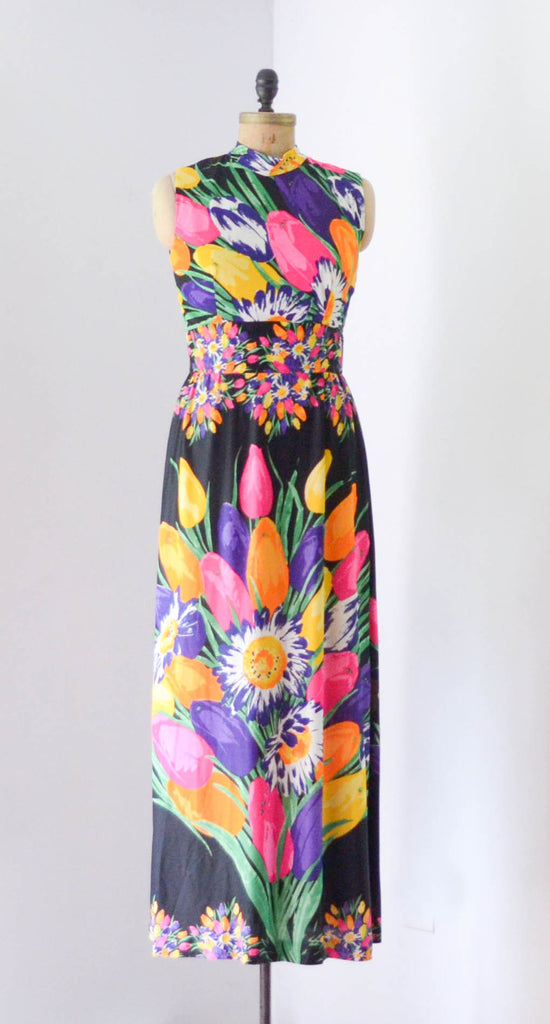 "vintage 1970s colorful floral print maxi dress black rainbow sleeveless long medium 29"" waist 70s seventies summer spring concettas closet fashion style"
