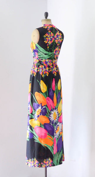"vintage 1970s colorful floral print maxi dress black rainbow sleeveless long medium 29"" waist 70s seventies summer spring concettas closet fashion style 3"