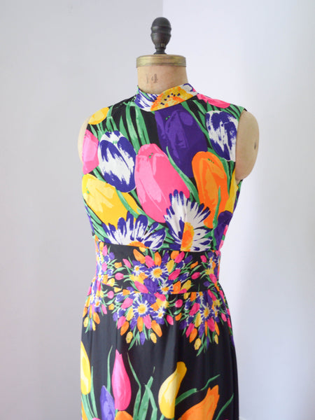 "vintage 1970s colorful floral print maxi dress black rainbow sleeveless long medium 29"" waist 70s seventies summer spring concettas closet fashion style 1"