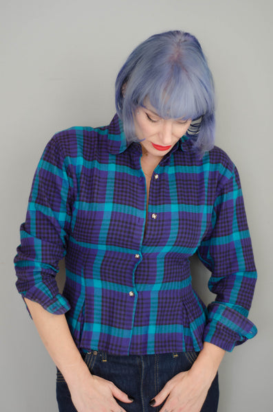 1980s plaid peplum flannel shirt purple blue teal black long sleeve winter fashion preppy classic timeless small xs extra concettas closet portsmouth nh new hampshire eighties 80s 1