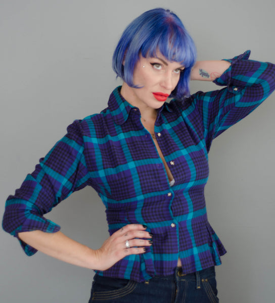 1980s plaid peplum flannel shirt purple blue teal black long sleeve winter fashion preppy classic timeless small xs extra concettas closet portsmouth nh new hampshire eighties 80s