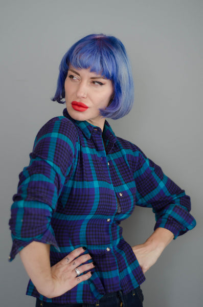 1980s plaid peplum flannel shirt purple blue teal black long sleeve winter fashion preppy classic timeless small xs extra concettas closet portsmouth nh new hampshire eighties 80s 4