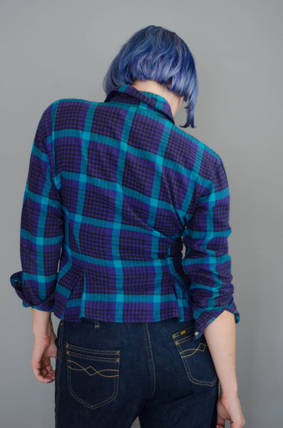 1980s plaid peplum flannel shirt purple blue teal black long sleeve winter fashion preppy classic timeless small xs extra concettas closet portsmouth nh new hampshire eighties 80s 5