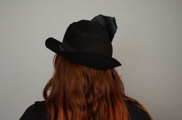 vintage 1940s womens black fedora hat tilt jaunty 40s forties classic film noir concettas closet new hampshire nh 5