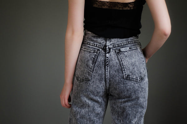 vintage 1980s acid wash high waist jeans demin black white waisted medium small rocker eighties 80s concettas closet portsmouth nh new hampshire 4