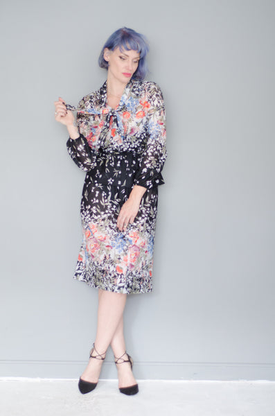 1970's Black Floral Dress Set