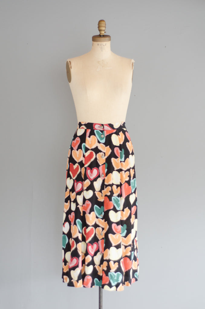 vintage 1990s heart print rayon midi skirt 90s nineties classic long small medium concettas closet nh new hampshire